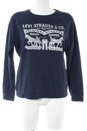 Levi's Rundhalspullover blau-weiß Motivdruck Casual-Look