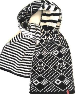 LEVI'S Schal mit Norwegermuster, NEU mit Etikett, schwarz/weis, Beidseitig tragbar