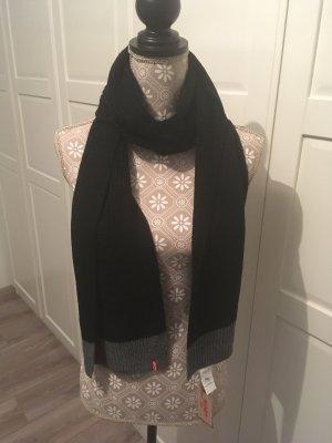 Levi's Gebreide sjaal zwart-grijs