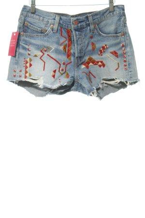 Levi's Shorts steel blue Aztec pattern Boho look