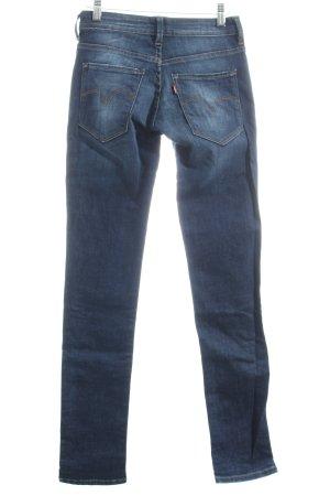 Levi's Skinny Jeans dunkelblau-wollweiß Farbtupfermuster Street-Fashion-Look