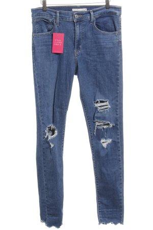 Levi's Skinny Jeans stahlblau Destroy-Optik