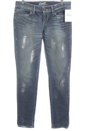 Levi's Slim Jeans silberfarben-dunkelblau Farbtupfermuster Metall-Optik