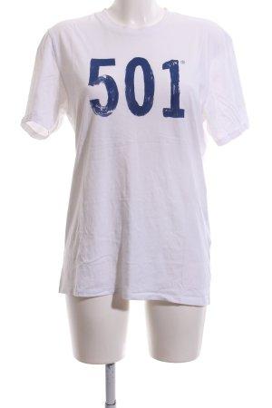 Levi's T-Shirt weiß-blau Schriftzug gedruckt Casual-Look