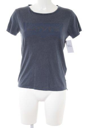 Levi's T-Shirt graublau-stahlblau Schriftzug gedruckt Casual-Look