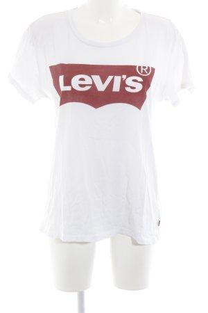 Levi's T-Shirt weiß-dunkelrot Schriftzug gedruckt Skater-Look
