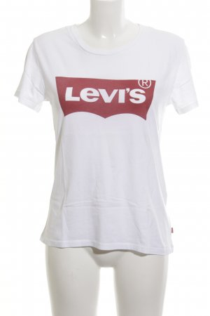 Levi's T-shirt wit-rood gedrukte letters casual uitstraling