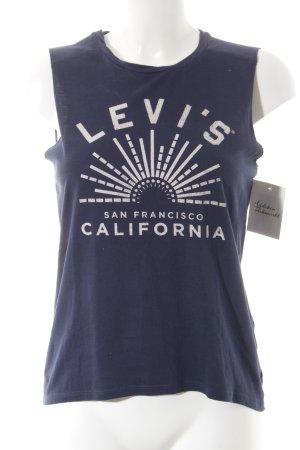 Levi's Tanktop dunkelblau-wollweiß Schriftzug gedruckt sportlicher Stil
