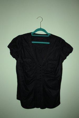 LEVIS Dunkel Blaue Damen Bluse Größe 40 L Kurzarm Nachtblau mit Seide glänzend