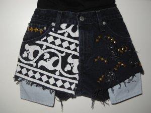 Levis Ethno Aztek Jeans Hotpants Hot Pants Shorts schwarz Nieten W26 XS S 34 36