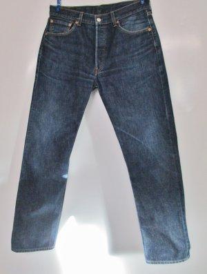 Levis Strauss 501 Jeans Hose W33 L32 Größe L 42 Dark Blue Blau Denim Knöpfe Knopfleiste  Klassisch