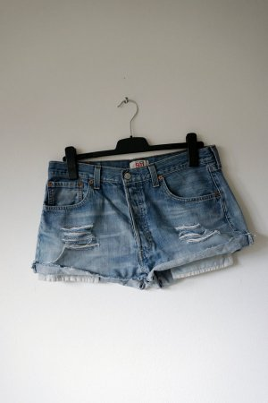 Levi's Denim Shorts azure-steel blue cotton