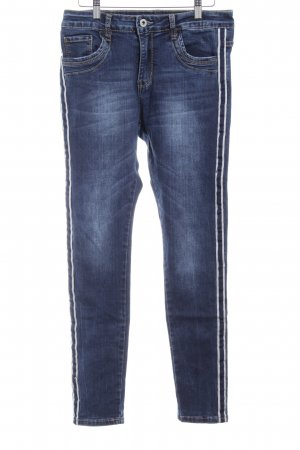 Lexxury High Waist Jeans dunkelblau Washed-Optik