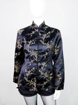 Li.Ly- Schwarzer Vintage Blazer aus Seide mit All-Over-Stickerei im Asia-Look