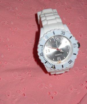 Libella Armbanduhr Quarz Uhr Armband weiß Kunststoff weiß silber watch neuwertig
