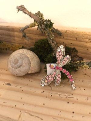 Broche rosa-color plata