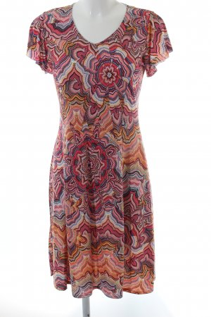 Liberty Kurzarmkleid apricot-gelb psychedelic-Muster Hippie-Look
