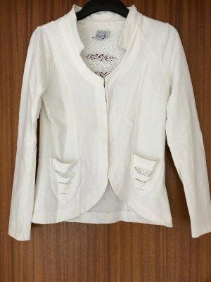 LIBERTY WOMAN Blazer Jacke Sweatjacke Sweatblazer Spitze beige creme Gr. S