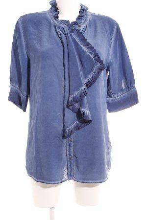 Liebeskind Berlin Ruche blouse staalblauw extravagante stijl