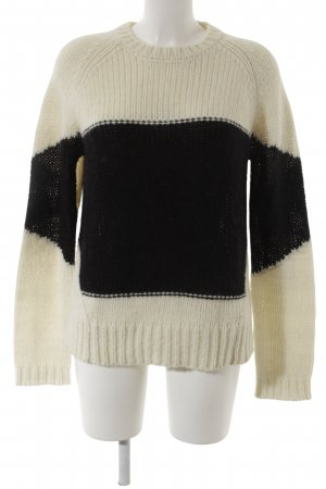 Liebeskind Coarse Knitted Sweater natural white-black striped pattern