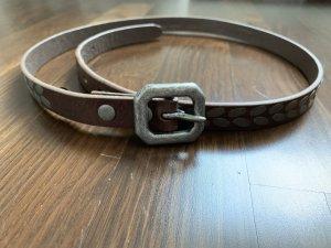 Liebeskind Berlin Cinturón de cuero marrón grisáceo-color plata