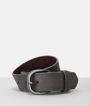 Liebeskind Berlin Leather Belt dark grey-silver-colored leather