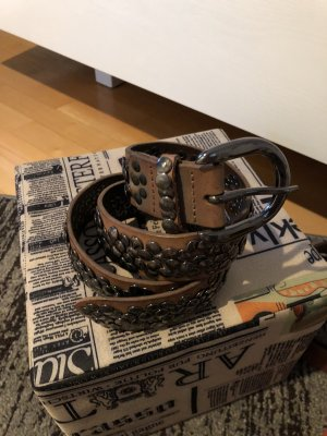 Liebeskind Cintura di pelle marrone-grigio