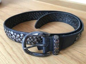 Liebeskind Berlin Cinturón de cuero negro-gris antracita Cuero