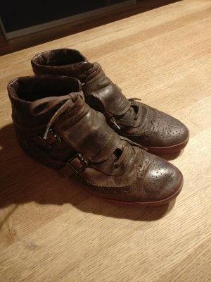 Liebeskind Leder Sneaker Budapester Muster, Vintage-Look, braun, Gr 41