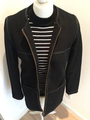 Liebeskind Mantel schwarz mit Lederdetails Gr. 36