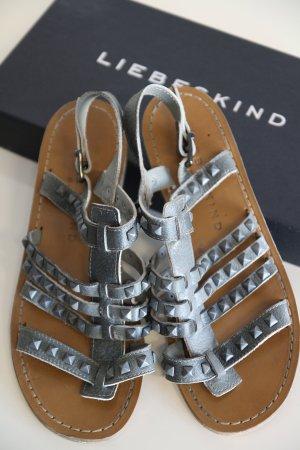 Liebeskind Berlin T-Strap Sandals grey leather