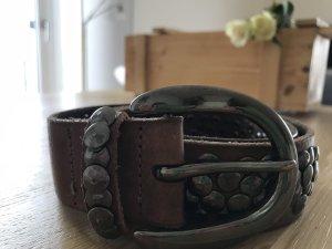 Liebeskind Berlin Cinturón de pinchos marrón-color plata