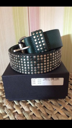 Liebeskind Berlin Leather Belt silver-colored-dark green