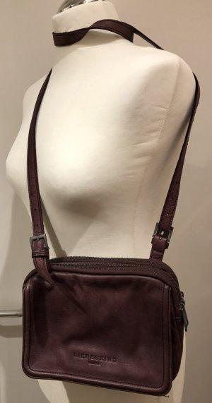 Liebeskind Sac porté épaule gris violet-brun pourpre cuir
