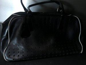 Prada Bolso de bolos negro-blanco Cuero