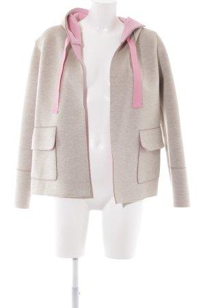 Lieblingsstück Kapuzenjacke hellgrau-rosa Schriftzug gestickt sportlicher Stil