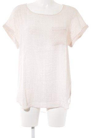 Lieblingsstück Kurzarm-Bluse rosé-weiß Zackenmuster Casual-Look
