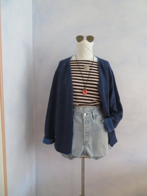 LIEBLINGSSTÜCK Oversize Kuschel Cardigan 100% Lambswool Indigo Jeansblau Strickjacke M L XL XXL