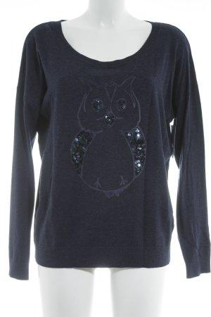 Lieblingsstück Strickpullover dunkelblau Animalmuster Casual-Look