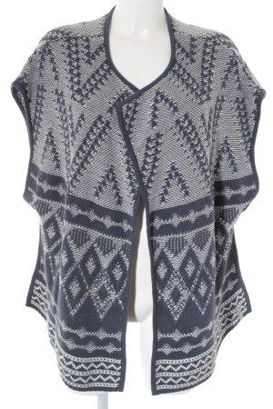 Lieblingsstück Strickweste graublau-weiß abstraktes Muster Boho-Look