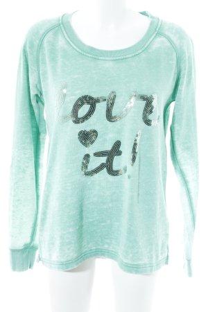 Lieblingsstück Sweatshirt hellgrün Farbtupfermuster Glitzer-Optik