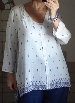 Lieblingsstück Tunika, weiß/ offwhite mit blauem Muster, Bordüre, Elefanten, tolle Qualität, A-Linie, Quetschfalte hinten, hochwertig, hoher NP, NEU, Gr. 42