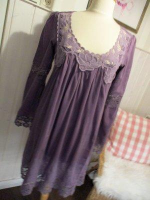 Lieblingsteilchen Hallhuber Tunika Kleid Minikleid Empirestyle Violett Seide mit viel Spitze
