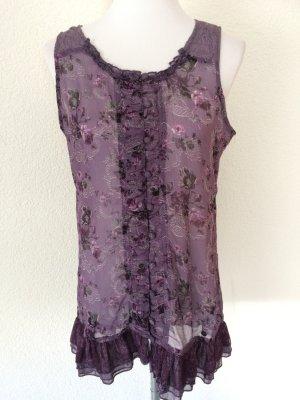 lila Blusenshirt /Longshirt / Longtop / Bluse mit Blumen - durchsichtig - Gr. 40