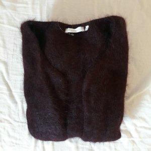 Cardigan brun pourpre laine angora