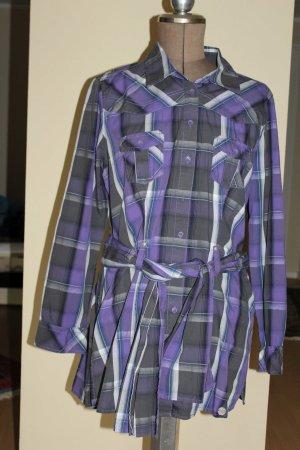 lila grau karierte Tunika / Kleid / Tunikabluse mit passenden Gürtel