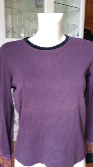 Lila Langarm Shirt mit Samt