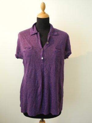 Lila Leinen Linen Baumwolle cotton Poloshirt lässig Luxus