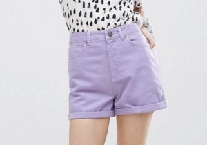 Lila/Lilac Pastel Jeans-Shorts von ASOS, neu & ungetragen