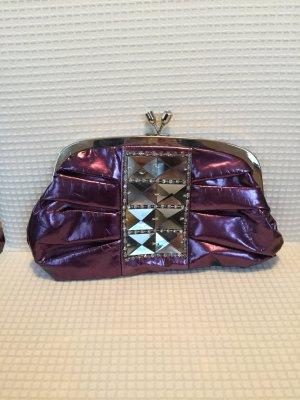 Lila Metallic Abendtasche mit Schmucksteinen und austauschbaren Trägern
